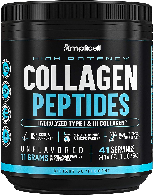 Collagen Peptides - 454g Hydrolyzed Collagen Powder - Type 1 & Type 3 Multi Collagen Protein Powder - Unflavored Collagen Peptides Powder - Collagen Protein Skin, Nails & Hair Supplement - 41 Servings