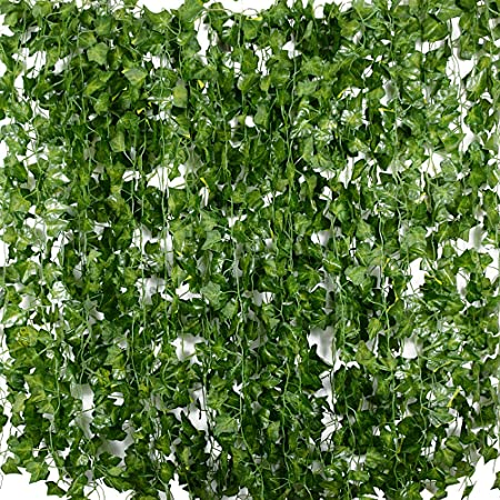 🍃 El paquete incluye 24 pcs hiedra artificial colgante de 2m de largao, de color verde.,🍃 Cada hie