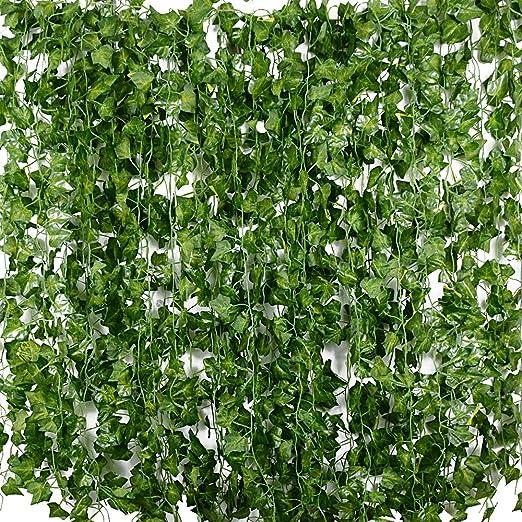 Plantas Hiedra Artificial (24pcsx2m) Hiedra Hojas de Vid Artificial Enredadera Guirnalda Decorativa para Decoración Hogar Escalera Ventana Balcón Valla Jardín Boda Mesa Fiesta Interior y Exterior: Amazon.es: Jardín