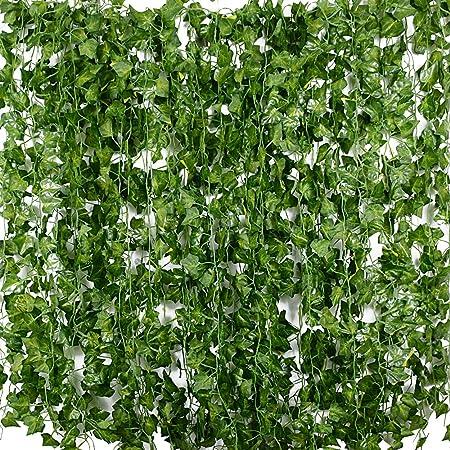 Plantas Hiedra Artificial (24pcsx2m) Hiedra Hojas de Vid Artificial Enredadera Guirnalda Decorativa para Decoración Hogar Escalera Ventana Balcón Valla Jardín Boda Mesa Fiesta Interior y Exterior