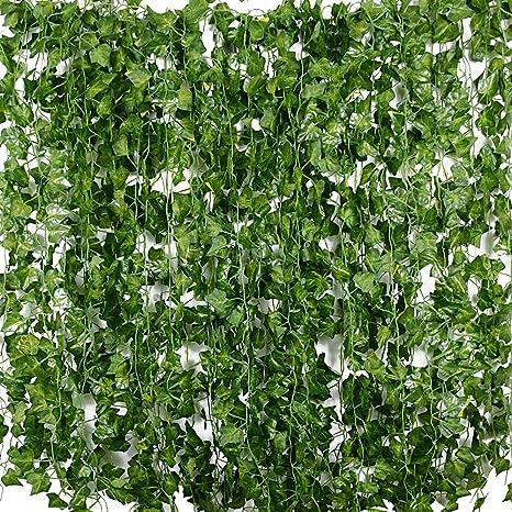 Plantas Hiedra Artificial 24pcsx2m Hiedra Hojas De Vid Artificial Enredadera Guirnalda Decorativa Para Decoración Hogar Escalera Ventana Balcón