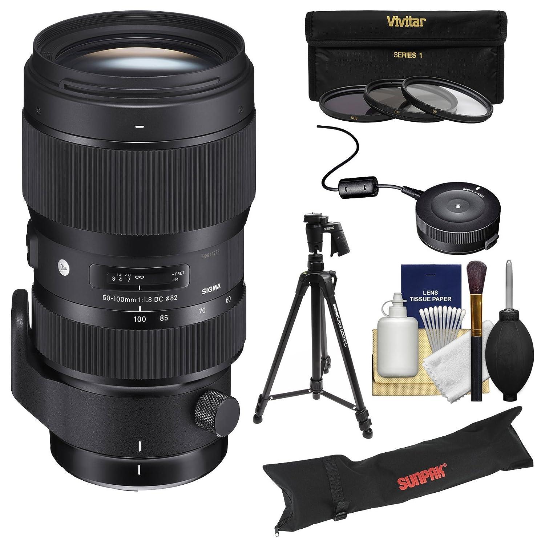 シグマ50 – 100 mm f / 1.8アートDC HSMズームレンズwith USB Dock +三脚+ケース+ 3フィルタ+キットfor Canon EOSデジタル一眼レフカメラ   B01FMTCH6S