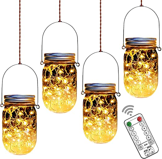 20 Solar Power Fairy Light Mason Jar Firefly LED Lights Xmas Decor Outdoor UK
