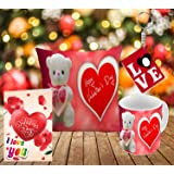 Happy Valentine's Day Love and cute teddy design Styles printed Gift Combo offer by Style Corme | Gift combo is one printed cushion, Valentine's Card, Printed mug and Key Ring. | valentine day gift for girlfriend | valentine day gift for boyfriend.