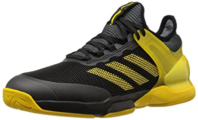 uk availability cabb7 063d7 adidas Men s Adizero Ubersonic 2 Tennis Shoes, Black Equipment Yellow Grey  Five,