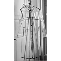 Chubasquero con capucha largo para mujer, transparente, de INMOZATA