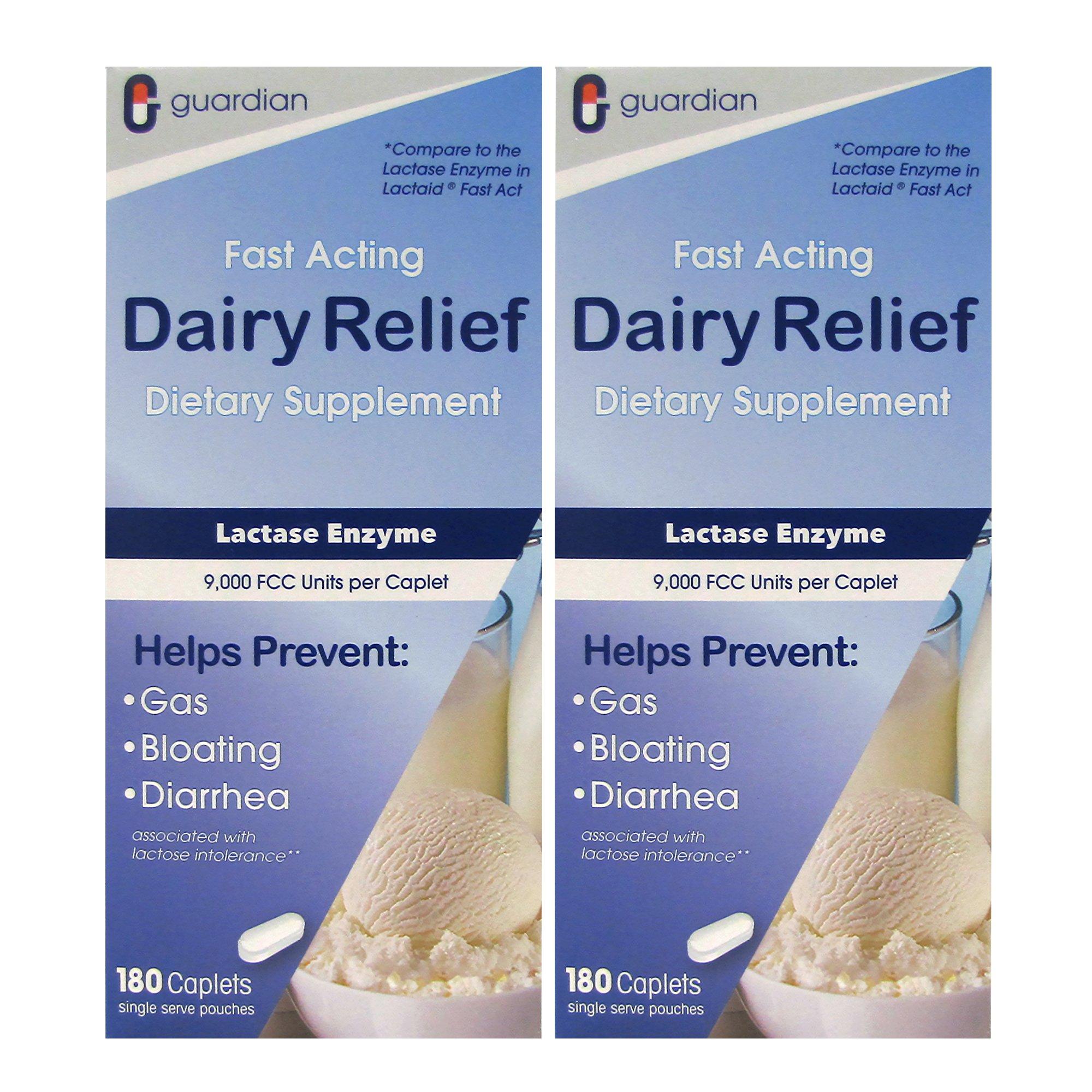Guardian Dairy Relief Fast Acting Lactase, 360 Caplets, 9000 FCC Maximum Strength, Lactose Intolerance Pills, Lactase Enzyme Supplement (360 CT) by Guardian
