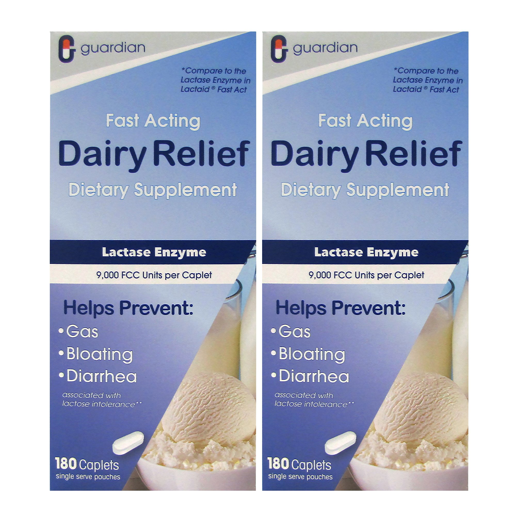 Guardian Dairy Relief Fast Acting 360 Caplets, 9000 FCC Maximum Strength, Lactose Intolerance Pills, Lactase Enzyme Supplement (360 CT) by Guardian (Image #1)