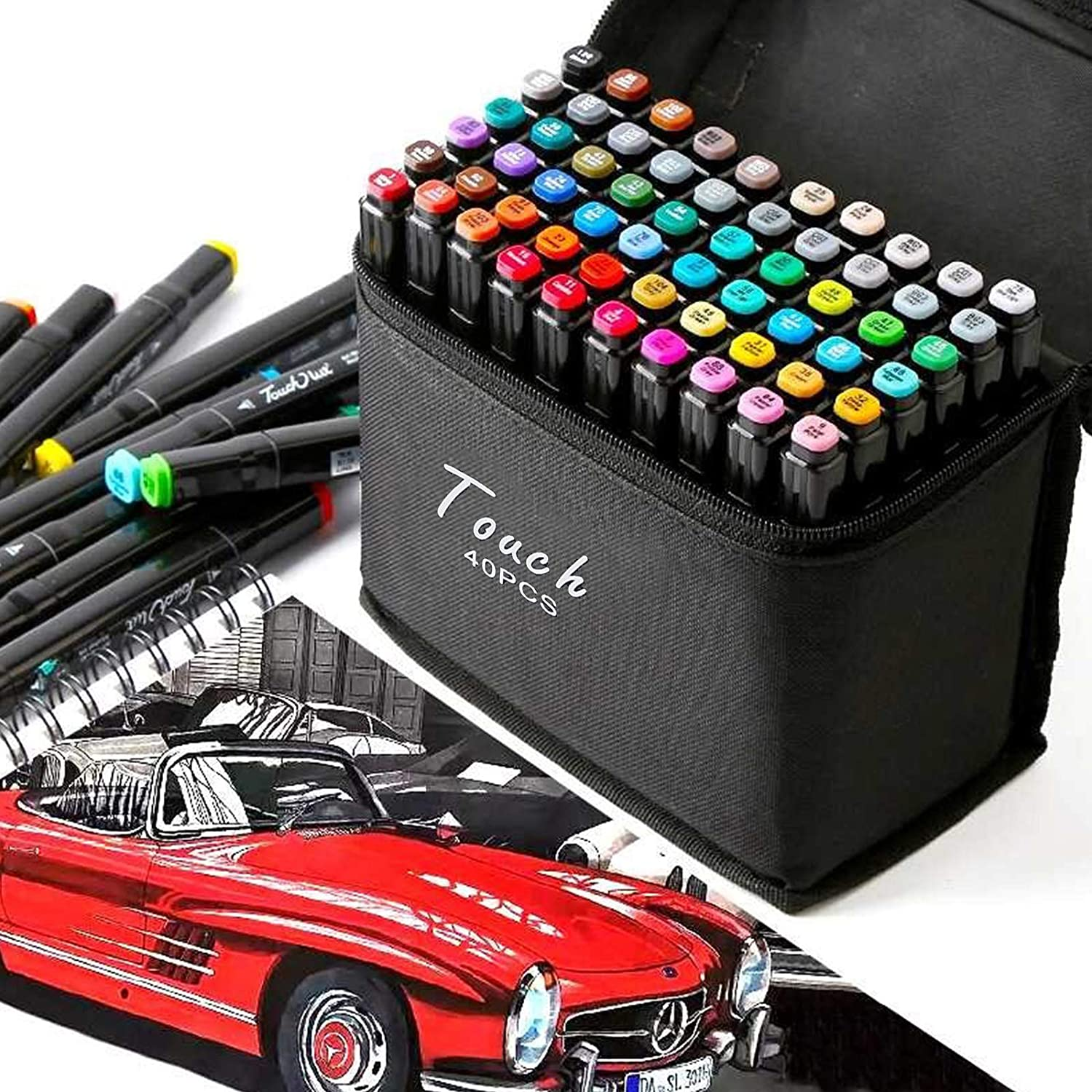 Coldshine 40 Colors Permanent Art Marker Pens Set Twin Dual Tips Touch Highlighter Pen with Carrying Case for Drawing Sketching Adult Coloring Highlighting and Underlining
