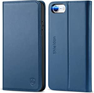 """SHIELDON iPhone SE 2020 Case, iPhone 8 Case, Genuine Leather iPhone 7 Wallet Case with Magnetic Closure Credit Card Holder Flip Stand Folio Cover Compatible with iPhone SE2/8/7 (4.7"""") - Royal Blue"""