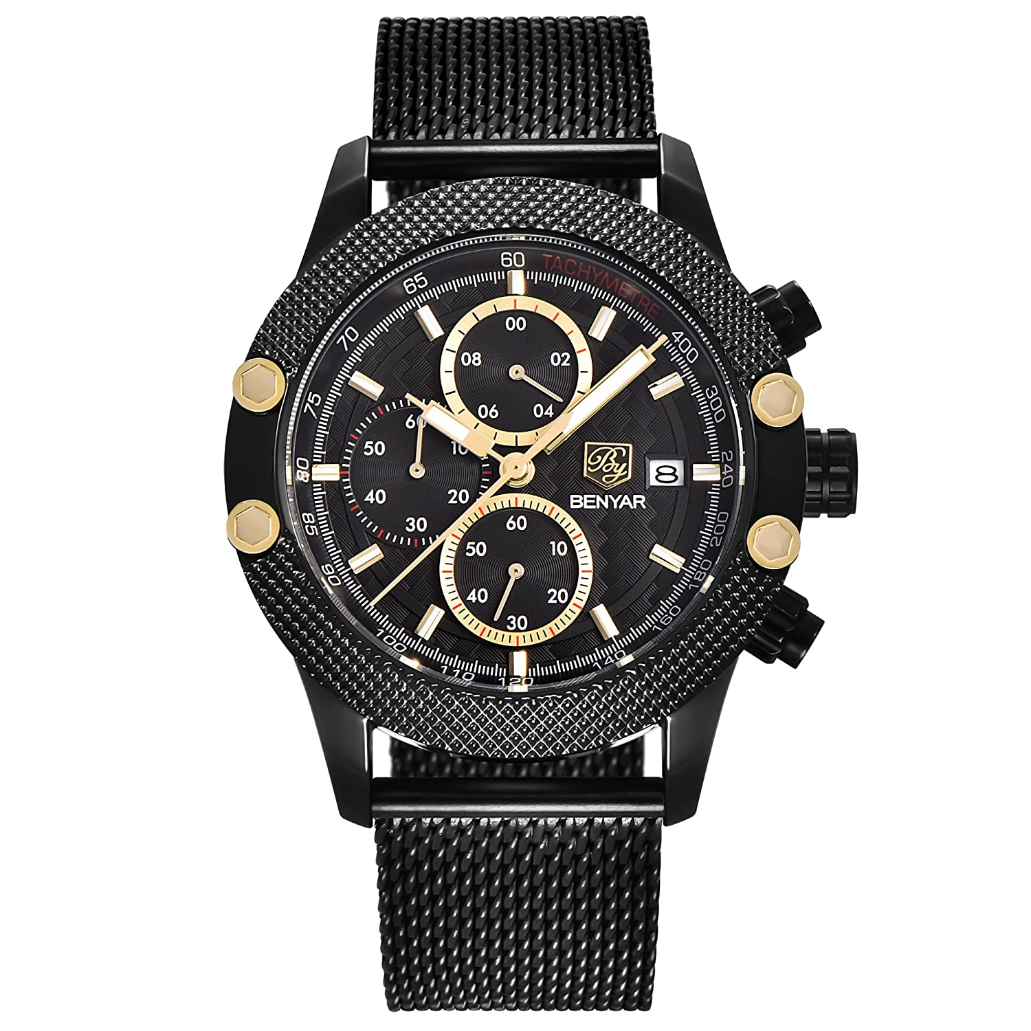 Amazon.com: BENYAR Men Watch 5109M Quartz Chronograph Waterproof Watches Business Casual Sport Mesh Band Watch(Black&Gold): Watches