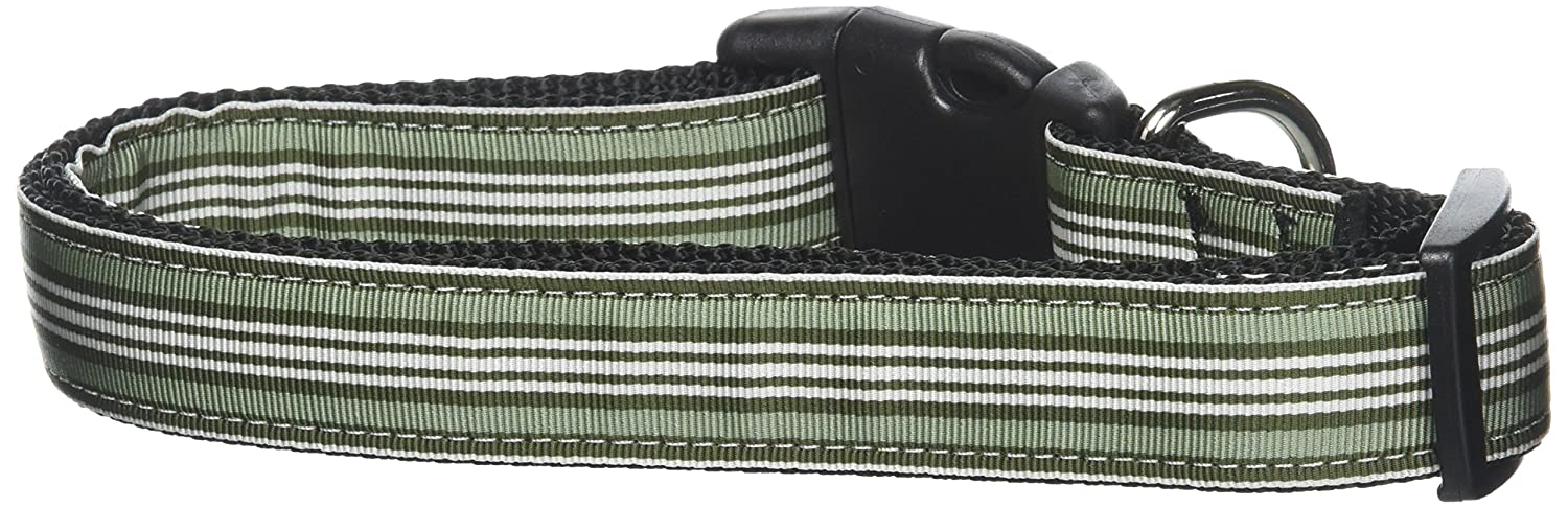 Mirage Pet Products Preppy Stripes Nylon Ribbon Collars, Large, Green White