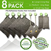 Bamboo Charcoal Air Purifying Bags Charcoal Bags Odor Absorber for Home and Car (Pet Friendly) - Charcoal Air Purifying Bags 8 PACKS (4X200 G) (2X100 G) (2X75 G)