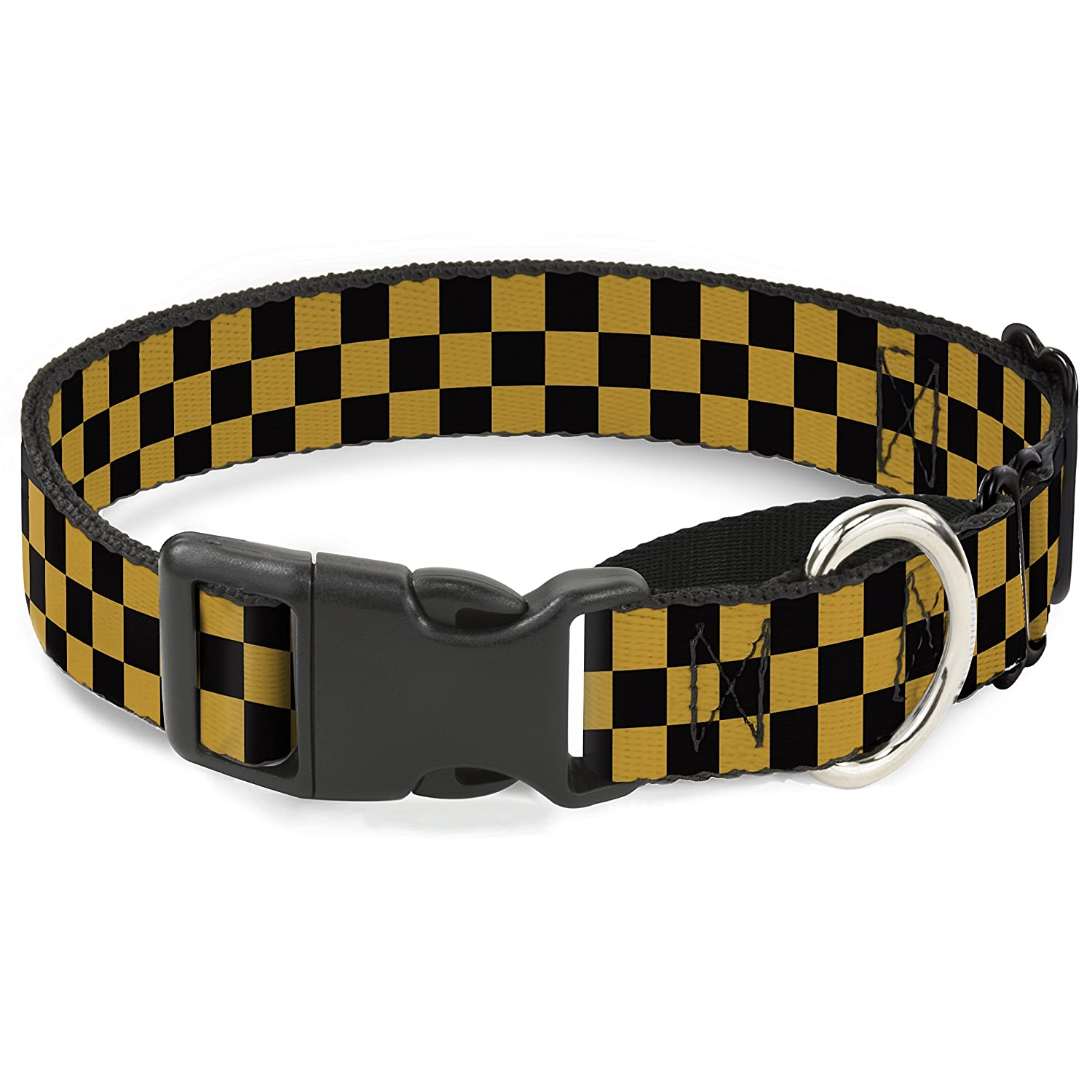 Buckle-Down Checker Black gold Martingale Dog Collar, 1  Wide-Fits 15-26  Neck-Large