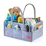 Baby Diaper Caddy Organizer - Portable Changing Table Organizer - Felt - Grey