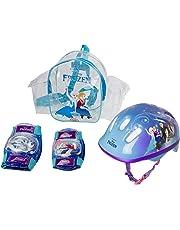 Casque La Reine des Neiges - Enfant (Taille S) - Set de protection - Genouillères + Coudières - Sac PVC à bretelles transparent - Dès 3 ans - D'arpèje - OFRO004