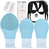 Silicone Travel Bottles Set with Face Scrubber, Leakproof Small Squeezable Containers for Toiletries, Empty Portable Refillab