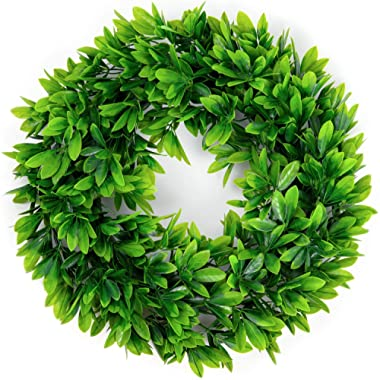 17  Artificial Green Leaves Wreath,Artificial Boxwood Wreath Leaf Wreath for Front Door Wall Window Party Decor,Indoor/Outdoor Use
