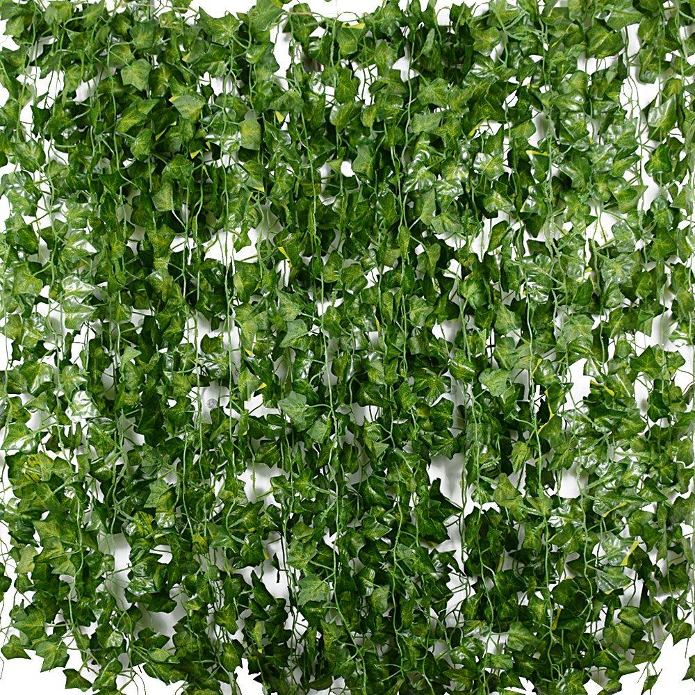 Plantas Hiedra Artificial (24pcsx2.2m) Hiedra Hojas de Vid Artificial Enredadera Guirnalda Decorativa