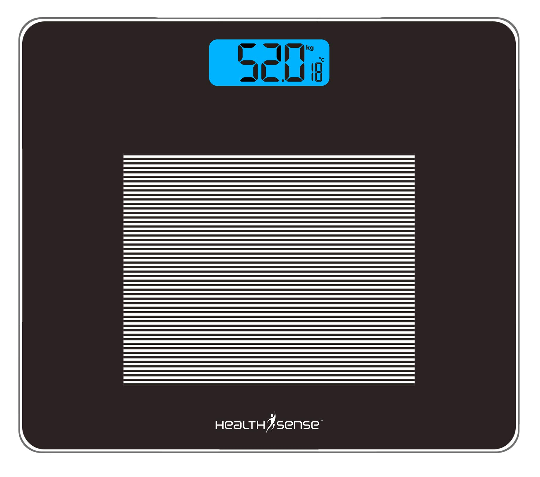 HealthSense Dura-Glass PS 115 Digital Personal Body Weighing Scale with Temperature and Step-On Technology (Batteries Included) product image