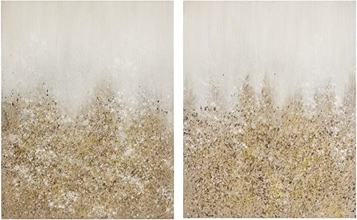 Madison Park Golden Glimmer 100% Hand Brush Embellished Canvas, 2 Piece Set, See Below, Gold