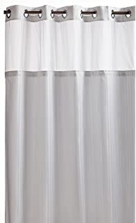 Arcs Angles Hookless RBH53MY306 Herringbone Built In Fabric Liner Shower Curtain