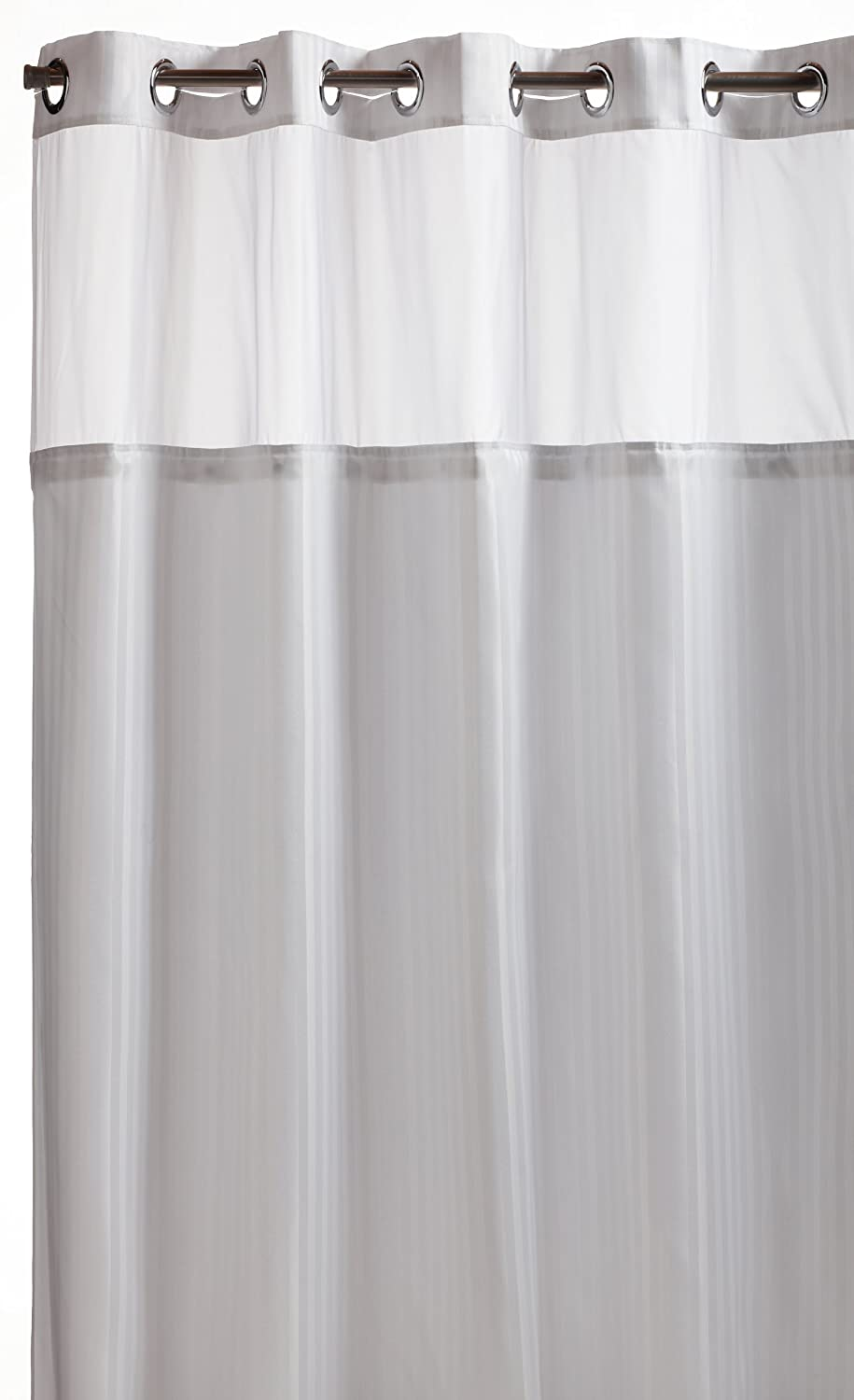 Hookless fabric shower curtain with built in liner taupe diamond pique - Amazon Com Hookless Rbh53my306 Herringbone Built In Fabric Liner Fabric Shower Curtain White Home Kitchen