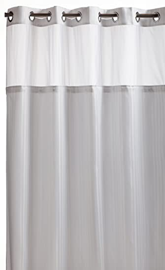 Curtains Ideas black cloth shower curtain : Amazon.com: Hookless RBH53MY306 Herringbone Built-in Fabric Liner ...