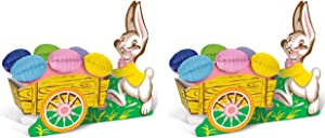 Beistle Vintage Easter Bunny And Cart 2 Piece Table Centerpiece Decorations, 10.5