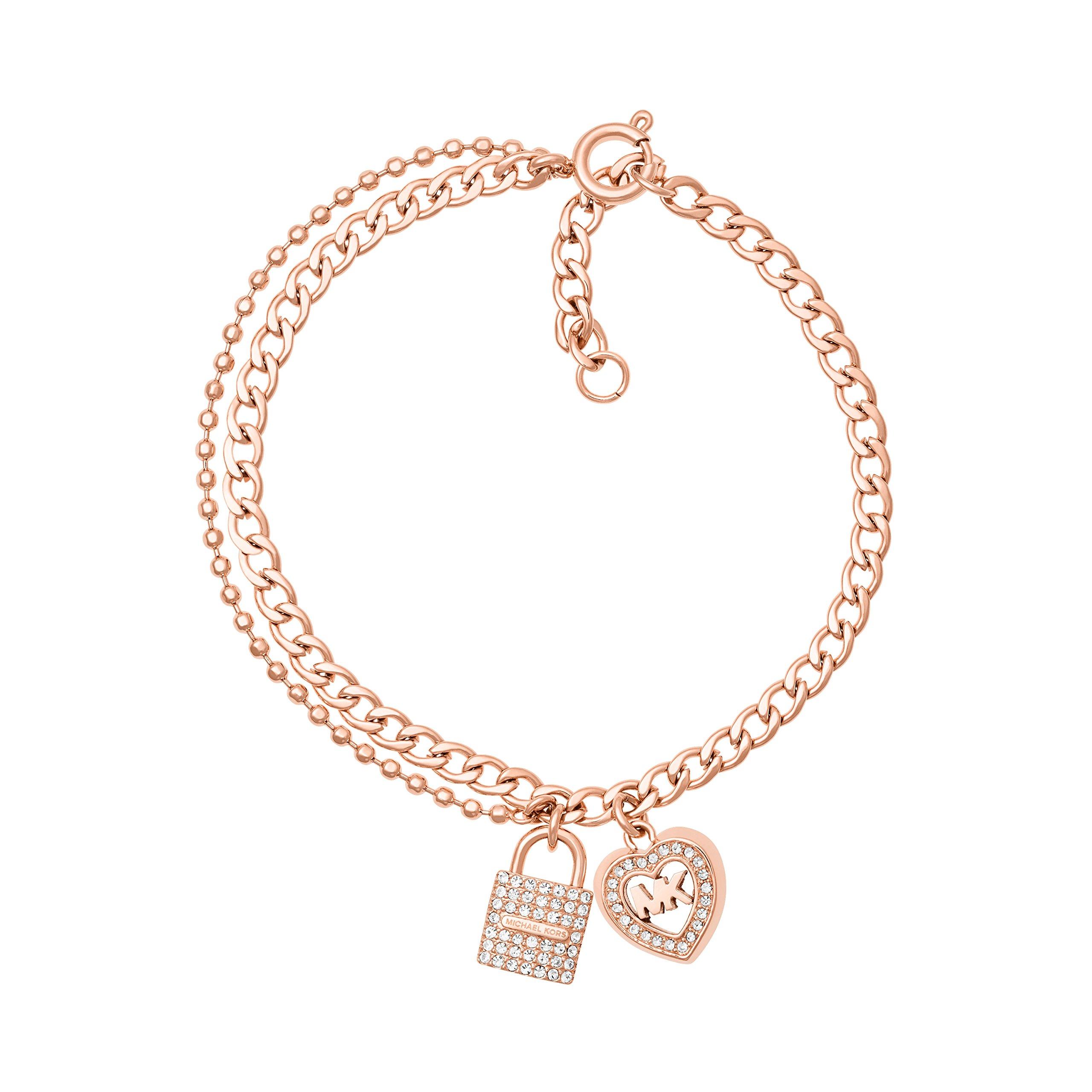 Michael Kors Womens Rose Gold-Tone Charm Link Bracelet, One Size