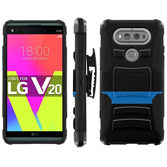 LG V20 Phone Cover, Thin Blue Line- Black Blitz Hybrid Armor Phone Case for  [LG V20] with [Kickstand and Holster]