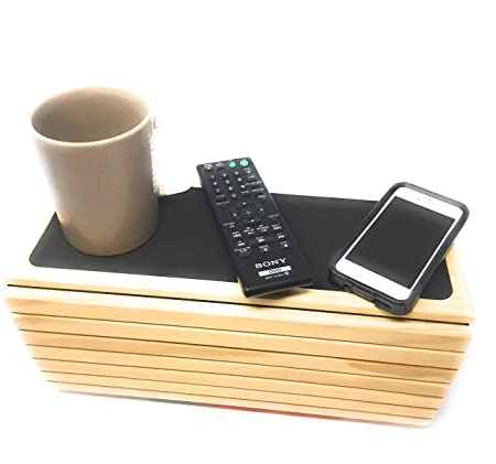 Couch arm Table Sofa Arm Tray – Flexible Foldable Coaster Tray. Perfect for Drinks, Organizer, Recliner Cup Holder Side Chair. Tv Tray for Couch armrest. Table Caddy Chair by SoHappy Brands Honey