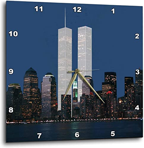 3dRose dpp_154708_3 New York City Evening Skyline Featuring The Twin Towers-Wall Clock, 15 by 15-Inch