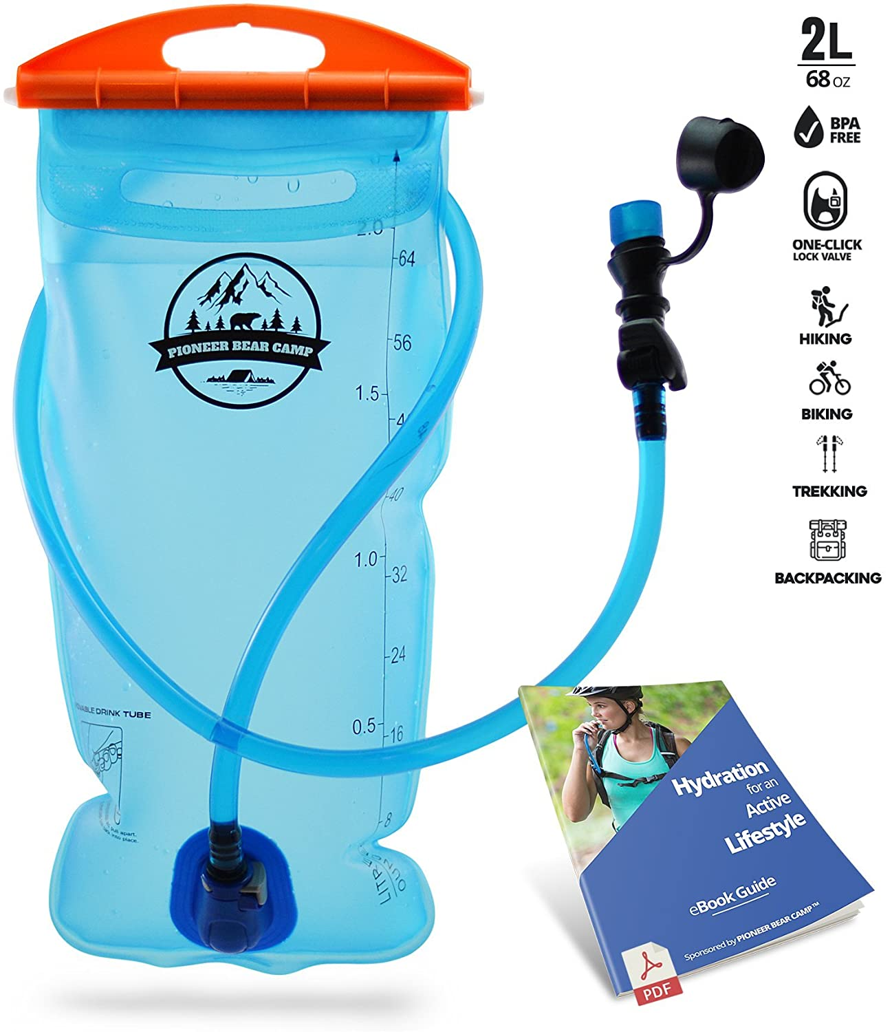 PIONEER BEAR CAMP Hydration Bladder 2l Water Reservoir Leak Proof Hydration Pack BPA Free Quick Release Insulated Tube & Shutoff Valve Best Hydration Reservoir for Hiking Camping Running Biking
