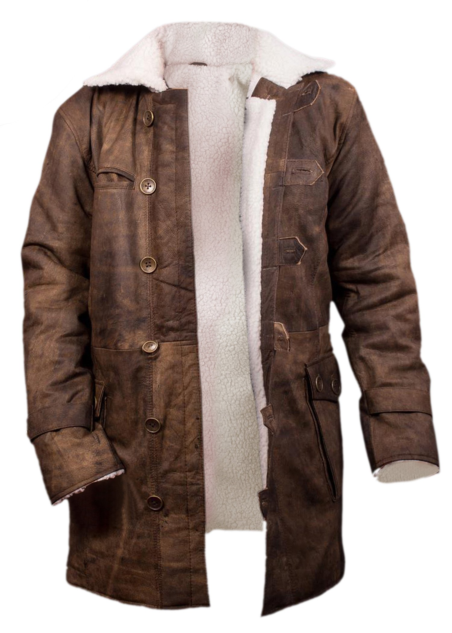 F&H Boy's Bane Genuine Distressed Leather Shearling Coat M Brown