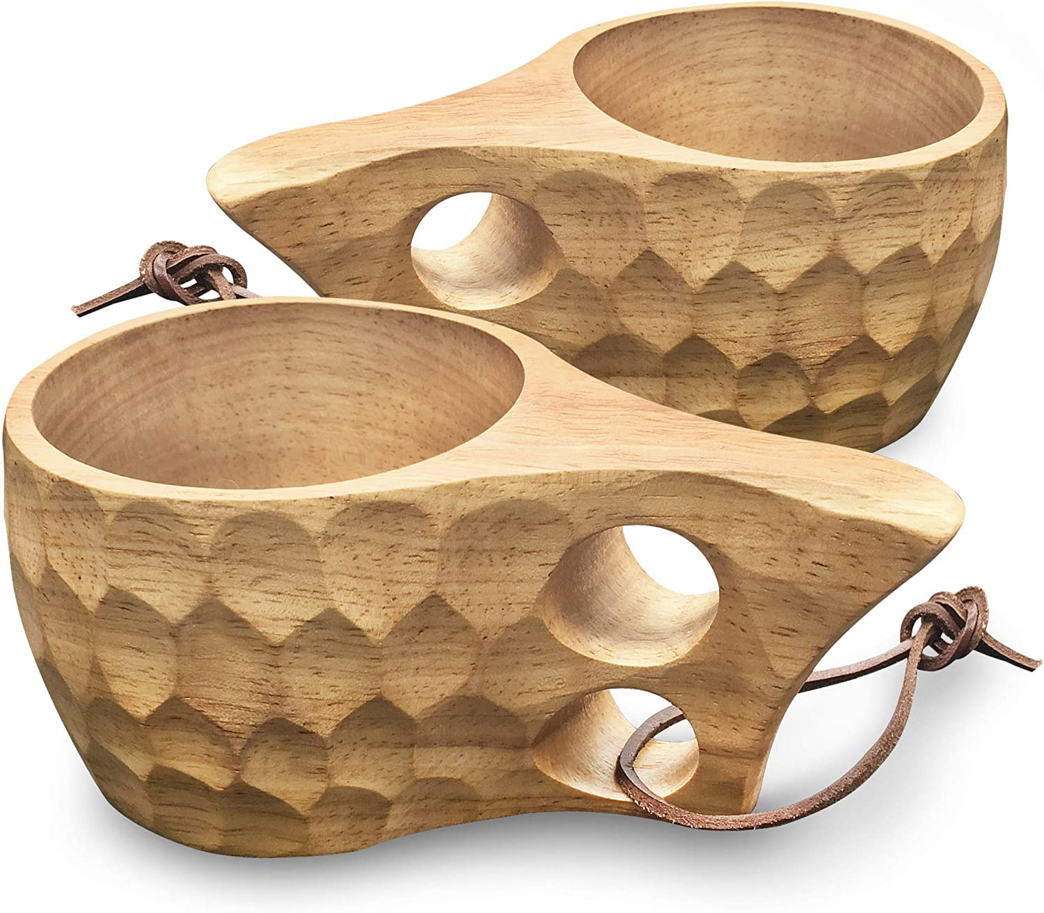 Riosupply Wooden Cup Traditional Coffee Mug with Leather Lanyard for Backpacking Camping Hiking Survival Teacup Nordic Style Kuksa Portable Outdoor Camping Drinking Cup