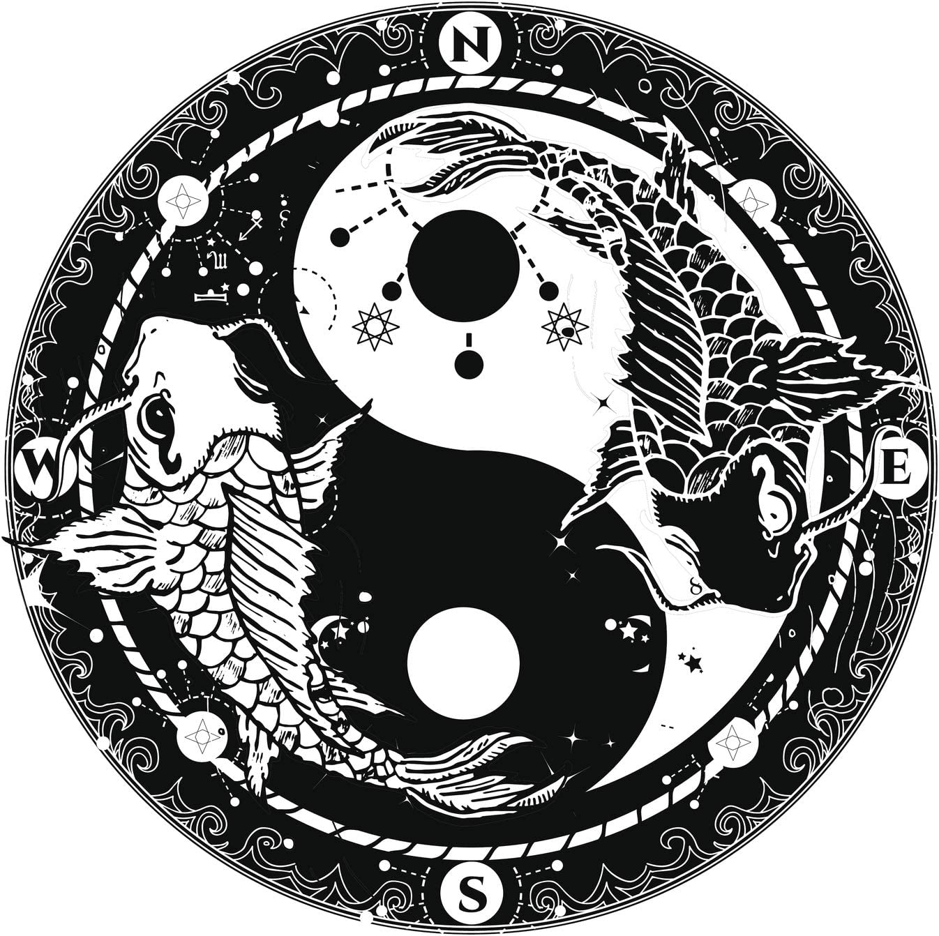 Amazon Com Cellestial Yin Yang With Koi Fish Compass Galaxy