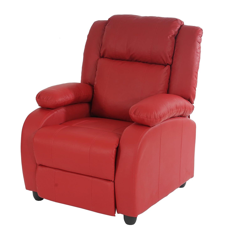 Mendler Fernsehsessel Relaxsessel Liege Sessel Lincoln, Kunstleder  rot rot rot 397563