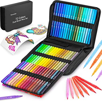 Coloring Markers Pens Set for Adult Coloring Book, Soucolor 72 Colors Dual Tip Art Markers (Fineliner&Brush, Numbered Penholder) with Case for Adults Kids Artist Drawing Journaling Sketching Lettering