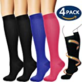 Compression Socks For Men & Women (4 Pairs) - Best For Running, Athletic, Medical, Pregnancy and Travel -15-20mmHg