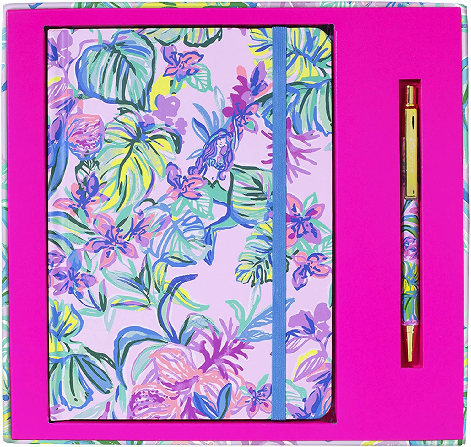 Lilly Pulitzer Leatherette Journal with 128 Lined Pages and Black Ink Pen Set, Mermaid in the Shade