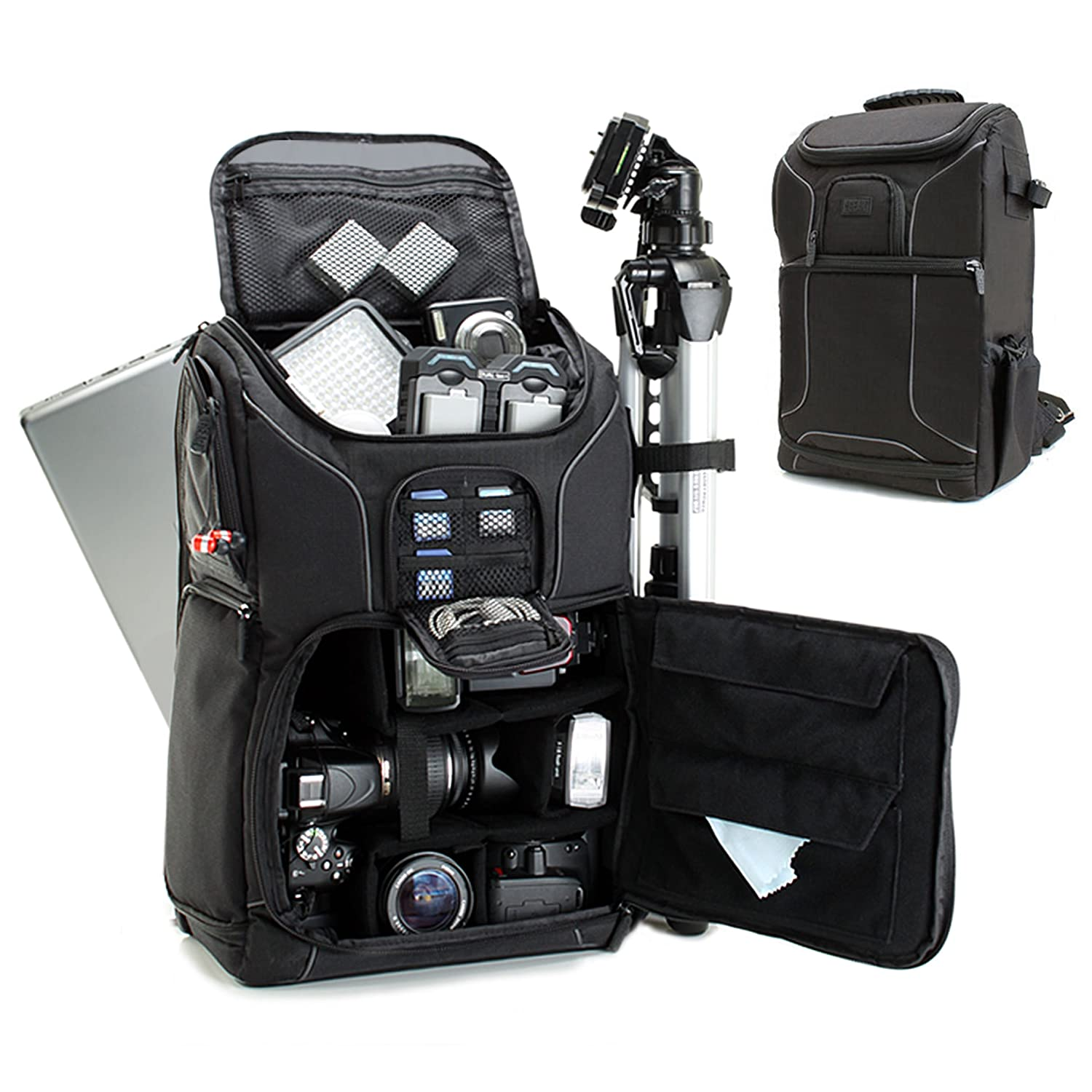 Professional Camera Backpack DSLR Photo Bag with Comfort Strap Design, Laptop, Tripod Holder, Lens and Accessory Storage for Canon EOS Rebel T5, T5i, T6i and More Full-Sized Digital SLR Cameras USA Gear W9GEARS17BP_CE01
