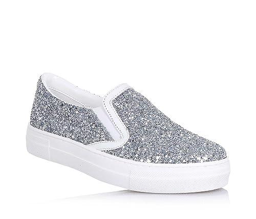 Zapato GlitterCon Plateado Cuero Cult De Superior Borde e9IbED2HYW