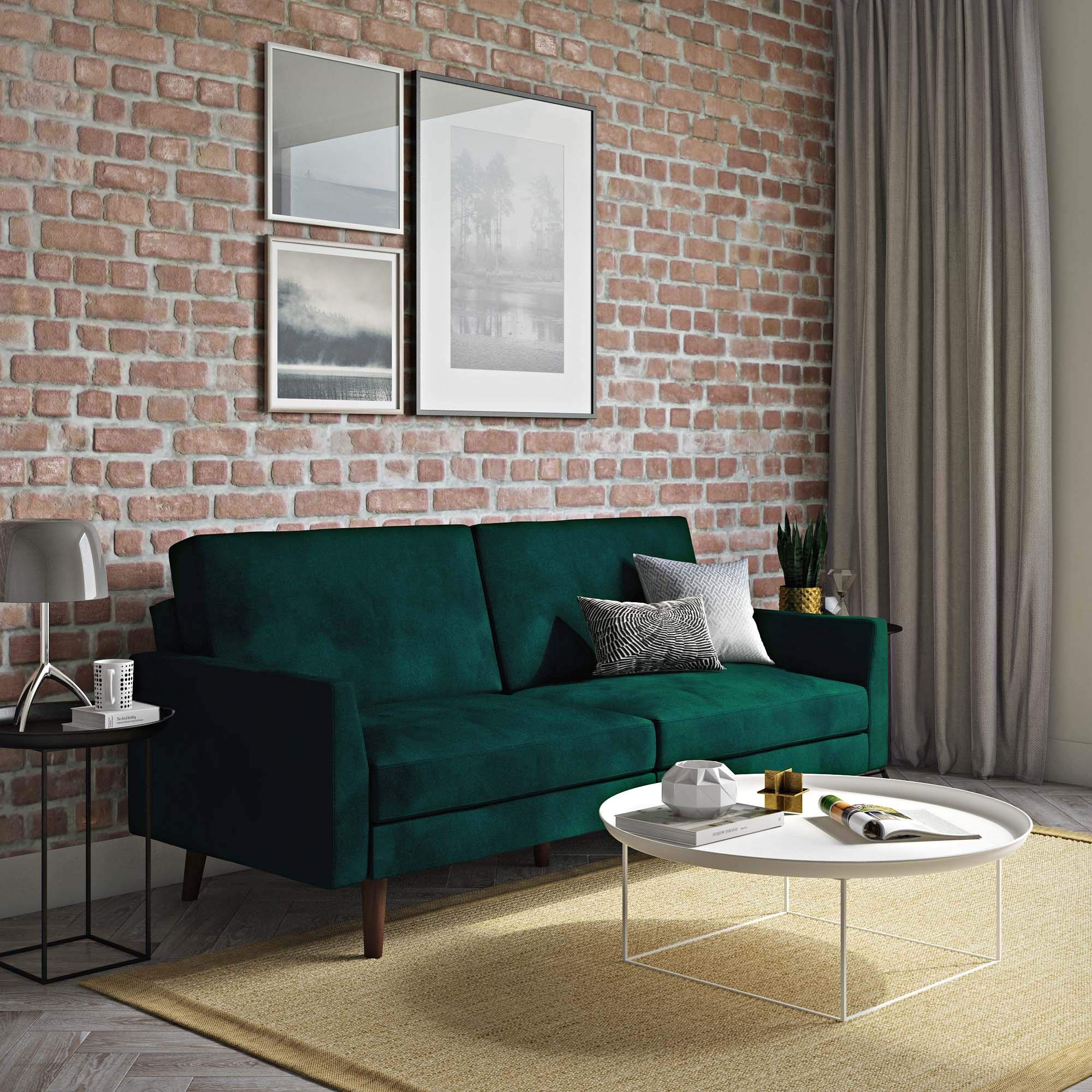 Novogratz The Audrey Futon with Independently Encased Coils and Soft Velvet for Top Comfort, Green Velvet by Novogratz