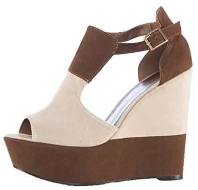 b5bb6710c Pop Ladies Womens Red Beige Orange High Heels Platform Peeptoe Sandals  Wedges Shoes Size 3-8: Amazon.co.uk: Shoes & Bags
