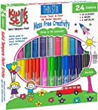 Pencil Grip Kwikstix Thin Stix Solid Tempera Paint 24 Pack, Super Quick Drying, 12 Classic 6 Neon & 6 Metallix Colors, (TPG-620)