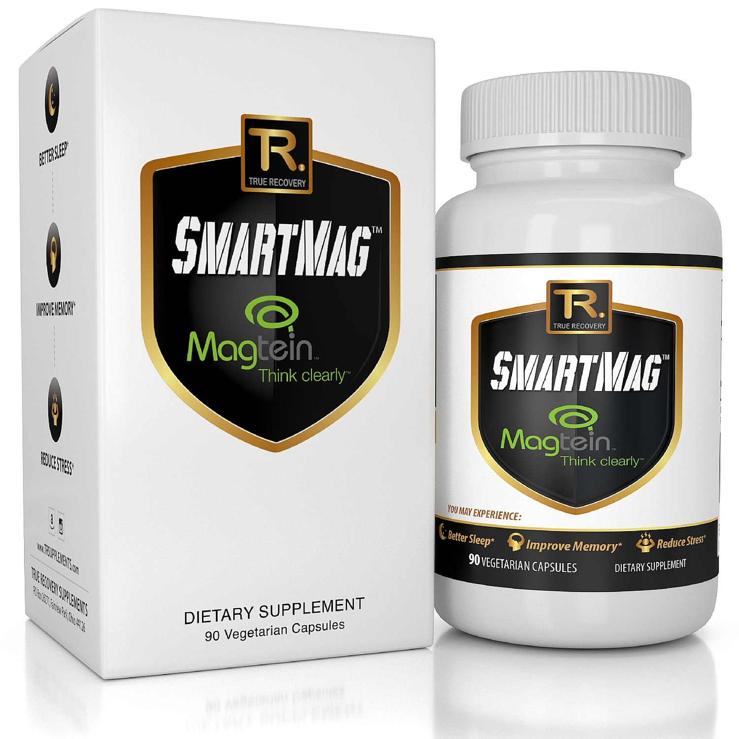 Magnesium Threonate (Magtein) + Taurate & Glycinate For Improved Memory, Brain Function, Sleep, and Heart Health - 90 Vegetarian Capsules   Best L Threonate Supplement by True Recovery