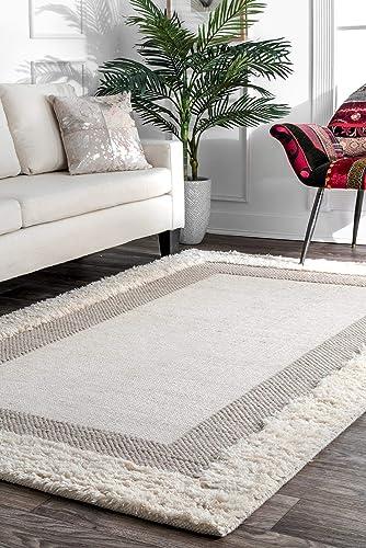 nuLOOM Double Border Wool Rug, 8 6 x 11 6 , Beige
