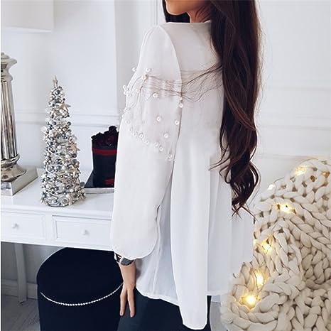 camisetas mujer, Longra ☆ Tops mujer verano de manga corta para mujer Decoración de perlas Casual Ropa de Mujer Blusa de Cuello en V profundo /Tops ...