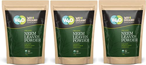 Neem Powder – USDA Certified Organic. No Preservative and all Natural – Herbs India Pack of 3 X 1 Pound